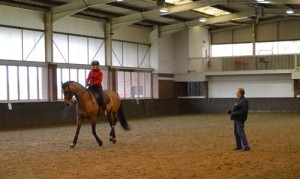 Jennie Loriston-Clarke FBHS helps dressage rider Judy Harvey FBHS