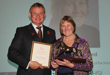 Margot Tiffany receiving the Bodynfoel Award from BHS President Martin Clunes in 2012